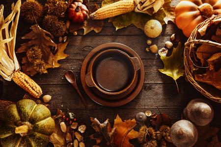 fruit plate: Thanksgiving dinner. Autumn fruit with plate and cutlery. Thanksgiving autumn background