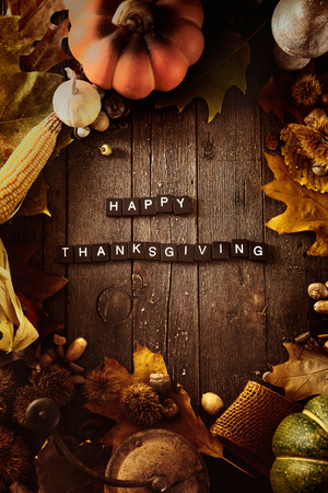 background wood: Thanksgiving background. Autumn fruit with Thanksgiving letters. Thanksgiving dinner