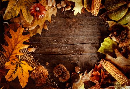 Thanksgiving dinner. Autumn fruit on wood with copyspace. Thanksgiving autumn background Stockfoto