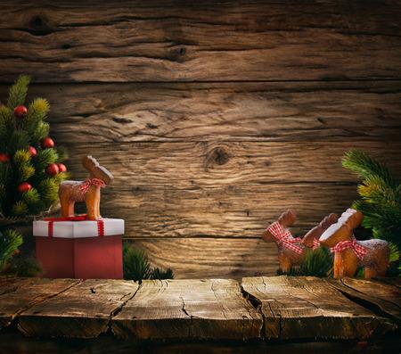 Fondo de la Navidad. Vector vacío para su montaje. Árbol de Xmass en la madera. Espacio para el texto Foto de archivo - 48977437