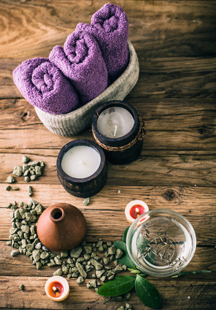 dayspa: Spa and wellness setting with oils and plants. Dayspa nature products Stock Photo