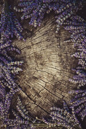 bunch of: Lavender background. Lavender flower bunch on wood. Floral background Stock Photo
