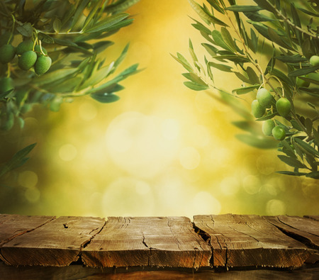 Olives background. Olives on olive tree with bokeh. food background