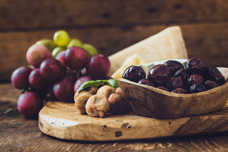 Cheese variety.Food background.  Fresh ingredients on wood Stock Photo