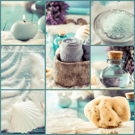 Spa collage series. Spa collage made of five images. Floral water, bath salt, candles and towel. Dayspa image Stockfoto