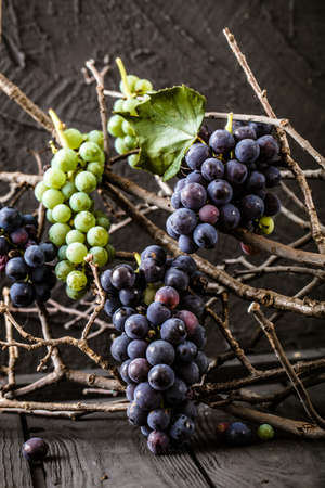 red grape: Fresh grapes on wood. Autumn fruit