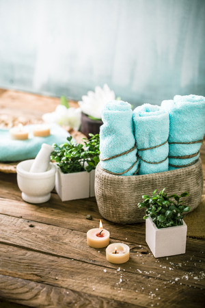 dayspa: Spa and wellness setting with flowers and towels. Dayspa nature products
