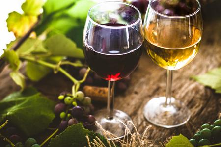 Vino. Bicchiere di vino bianco in cantina. Vecchio vino bianco su legno. Archivio Fotografico - 61774149
