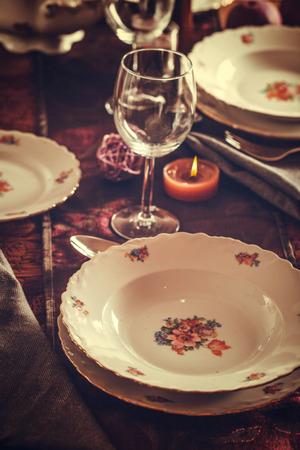 Table setting for dinner. Elegant place setting for restaurant Stock Photo