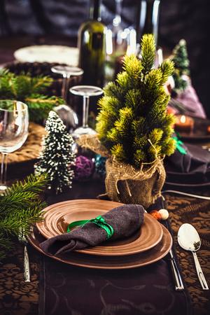 restaurant setting: Table setting for dinner. Elegant restaurant setting for New Year .Christmas dinner.
