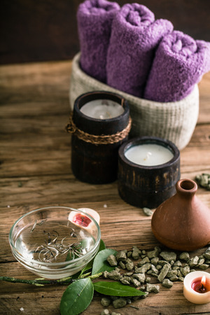 Spa and wellness setting with oils and plants. Dayspa nature products Stock Photo