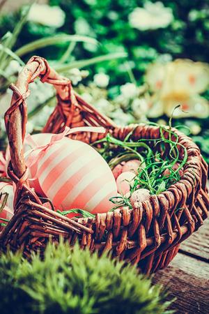 osterei: Bunte Ostern Konzept mit rosa Eier in Whisker Korb in der Natur