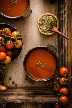 comfort: Tomato soup. Homemade tomato soup with tomatoes, herbs and spices. Comfort food.