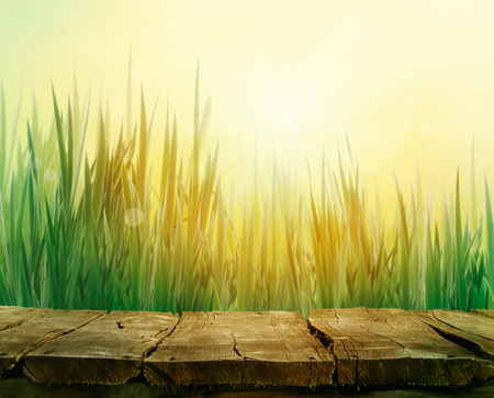 Spring grass. Blur background. Summer nature. Bokeh blurred background.Wooden table. Wood planks Stock Photo
