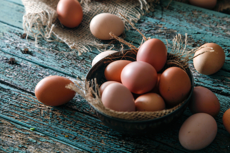 Organic eggs on wood. Fresh eggs. Healhy food