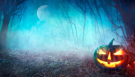 Halloween background. Spooky forest with full moon and wooden table Stock Photo