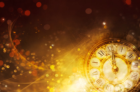 New Year Background. golden Holiday abstract defocused Background With glowing Stars. Blurred Bokeh. Blurred background