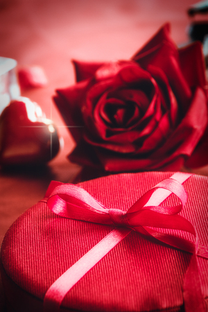 Valentines day red bow on luxury present. St Valentines day gift Stock Photo