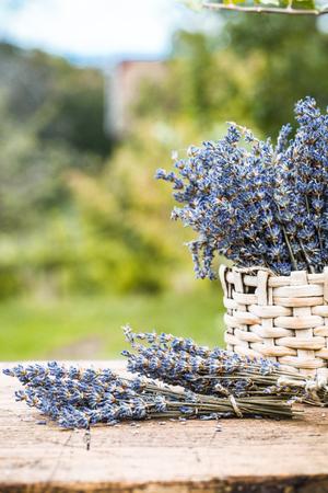 Lavender background. Lavender flower bunch on wood. Floral background Banco de Imagens