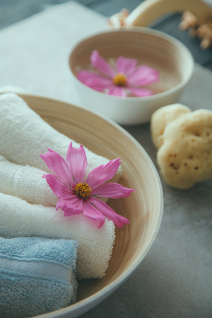 Spa natural concept. Dayspa cosmetics products. Spa and wellness setting. Stock Photo