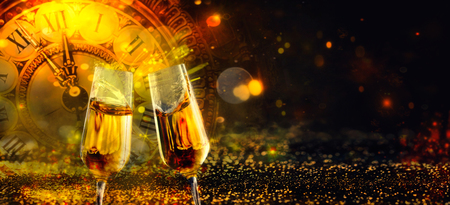 Christmas Background. golden Holiday abstract defocused Background With glowing Stars. New Year Champagne. Blurred background