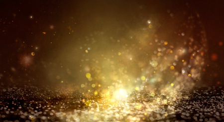 New Year Background. Greeting Card abstract defocused Background With glowing Stars. Blurred Bokeh. Blurred background