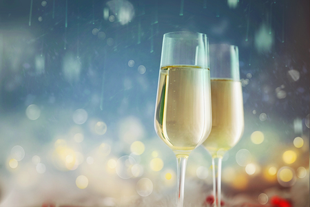 Golden Holiday abstract defocused background with glowing stars and Champagne. 写真素材 - 113763291