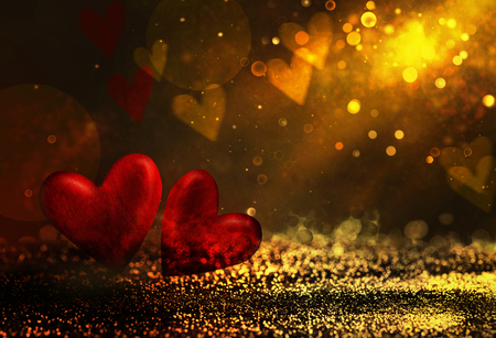 Valentines day. Valentines background with table and bokeh. Love red background. Valentines day empty display. Love background Stock Photo