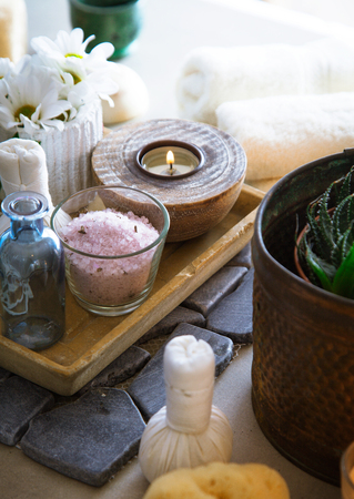 Spa and wellness. Spa products in natural setting. Cosmetic products for spa treatment