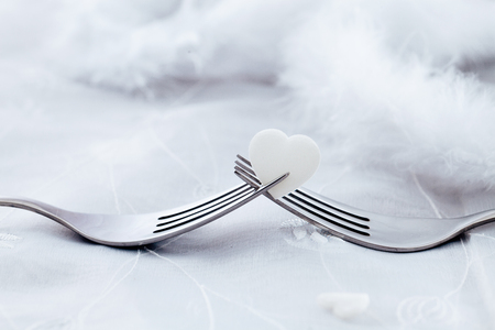 Forks with heart. Valentines day table setting