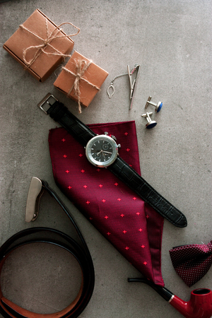 Fathers day. Men things on table.  Fathers accesories. Watch on table