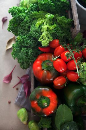 Fresh vegetables flatlay overhead frame. Food layout. Vegetables variety