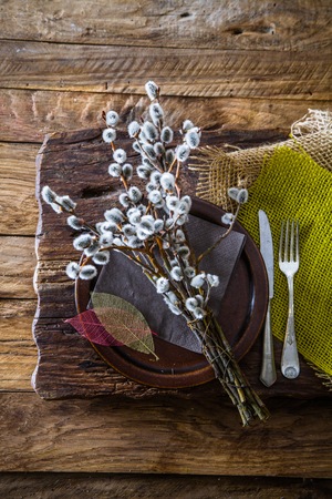 Spring table setting. Cutley on wood. Fork and knife on table Stock fotó