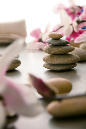Spa and wellness. Natural massage stones  with magnolia flower. Spa treatment