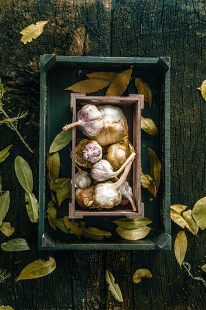 Vegetables on wood. Organic vegetables in rustic setting.Garlic on wood