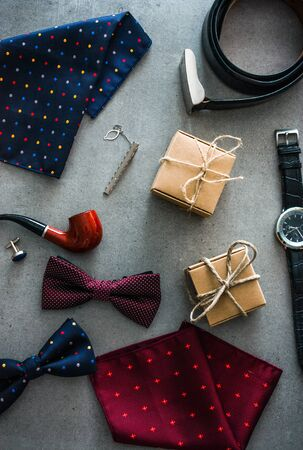 Fathers day. Men things on table.  Fathers accesories. Flatlay overhead view