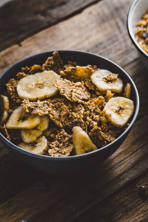 Healthy breakfast variety. Cereals with fruit.