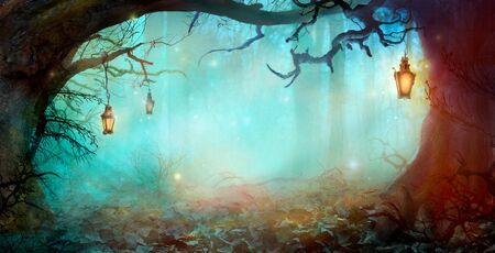 Halloween Background with Lanterns in Dark Forest in Spooky Night. Halloween Design in Magical Forest