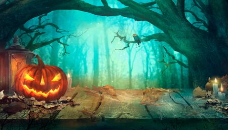 Halloween with Pumpkins and Dark Forest. Scary Jack O Lantern Halloween Design on Table