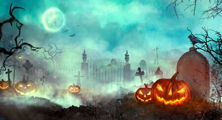 Halloween pumpkins on the graveyard. Halloween design with Jack O Lantern