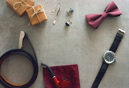Father's day. Mens things on table.  Fathers accesories Banque d'images