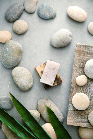 Spa and wellness. Natural soap. Spa treatment. Overhead flatlay