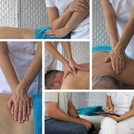 physio: Five different angles of a female bodyworker therapist working on a mature male client Stock Photo