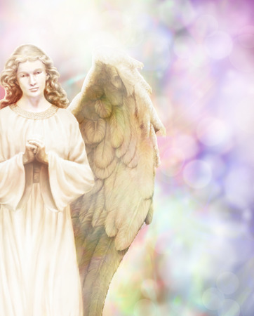 Traditional angel illustration on pastel bokeh background