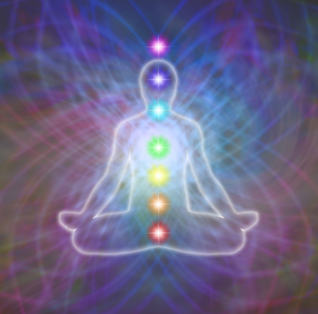 aura: Lotus position meditation in energy matrix and seven chakras diagram