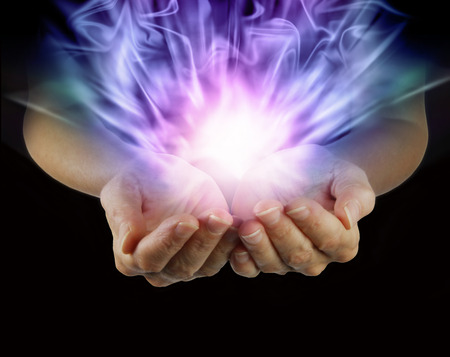 aura energy: Woman with outstretched hands and explosive healing magnetism  Stock Photo