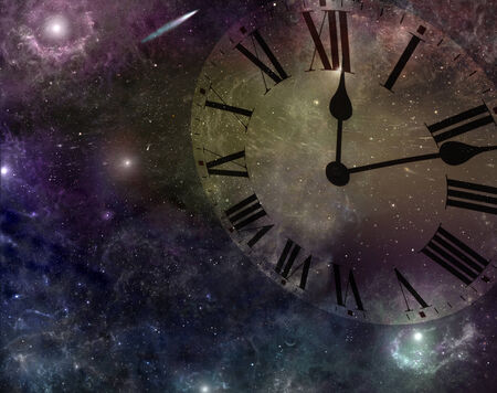 concept magical universe: Deep Space with clockface showing time