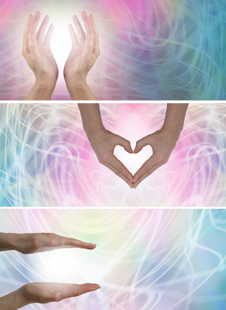 3 x Healing Hands site bannières Banque d'images