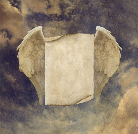 energy healing: Antique Effect Parchment Angel Wings Sign