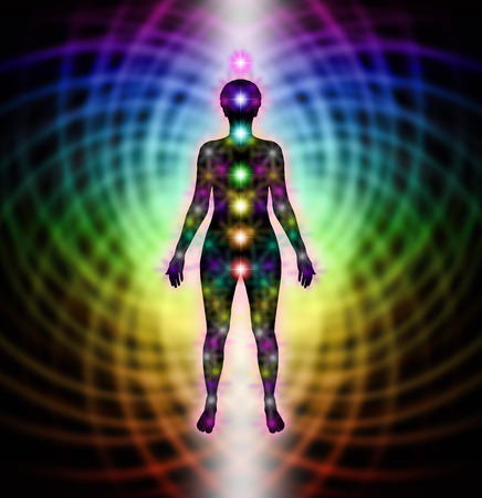 energy healing: Energy field and chakras diagram Stock Photo